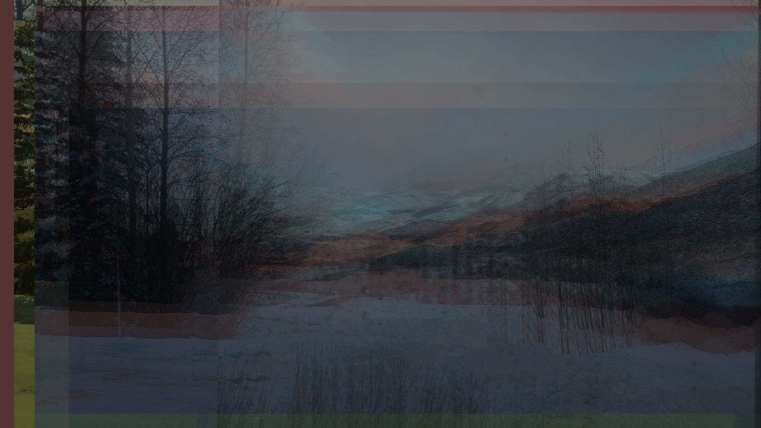 "The image shows a layered series of photographs taken from a similar perspective. It is the same view of photographs of the Shoshone/Idaho Mountains, taken over a period of multiple days with the available light being different every time. The general blue-ish hue is from a couple of digital photographs that were taken in the early morning. The photos are also layered onto a photoshop background that is orange-red, a hue taken from one of the other in processed digital photographs. A sliver of that color is seen on the left side of the photograph. It is an exposure of the background layer of a complex image. The images are not aligned perfectly, causing the overall lines in the image to appear blurred or unsure. The layering refers to the ""rolodex"" of light states in the writer's memory of the place (mentioned in the writing). The title points to landscape photography's role in Manifest Destiny (such as the photographs of Carlton Watkins)."