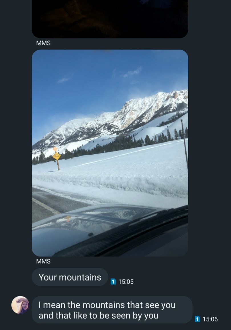 "The image shows a text message screen shot from the writer's cell phone. It is a text message conversation showing one of the writer's favorite mountains in the area, taken from the inside (driver's side) of a Prius. It is sent from MT. The text reads ""Your mountains"" followed immediately by ""I mean the mountains that see you and that like to be seen by you""."