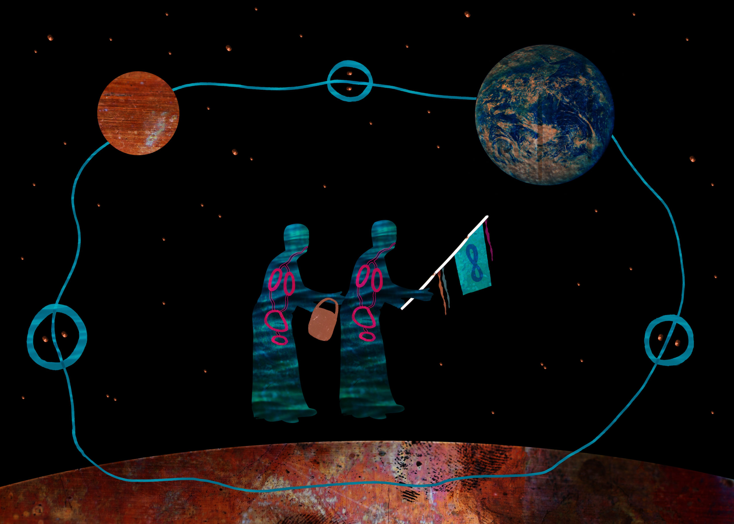 Two figures, shaded by colorful hues of blue, green and pink, are seen floating in a cosmos linked together by a water-bearing object, one figure is wielding a flag. From their posture, slightly bent, they would appear to be elderly, ancestral. Around the figures two planets are connected by streams of blue line.