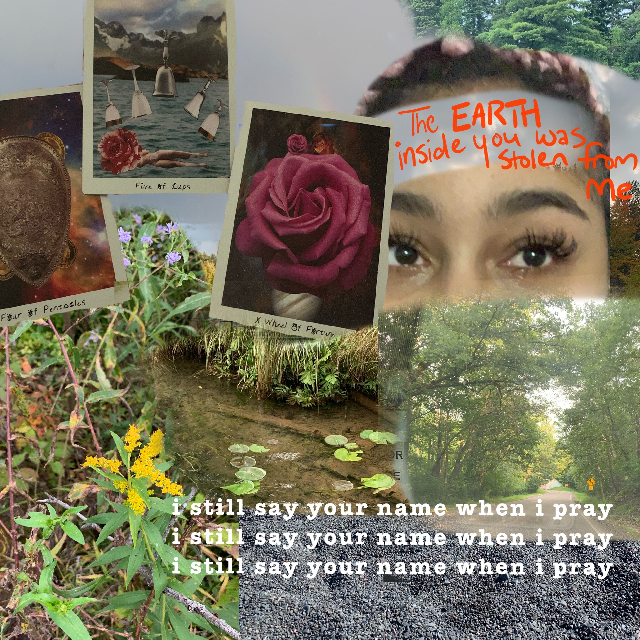"A collage featuring three tarot cards in the left corner: the Four of Pentacles, Five of Cups and the Wheel of Fortune. In the right corner there is light-skinned black femme with teary eyes and the words ""The EARTH inside you was stolen from me"" written across their forehead. The bottom of the collage is various types of foliage and a path surrounded by trees. In the bottom right the phrase ""i still say your name when i pray"" is repeated three times."