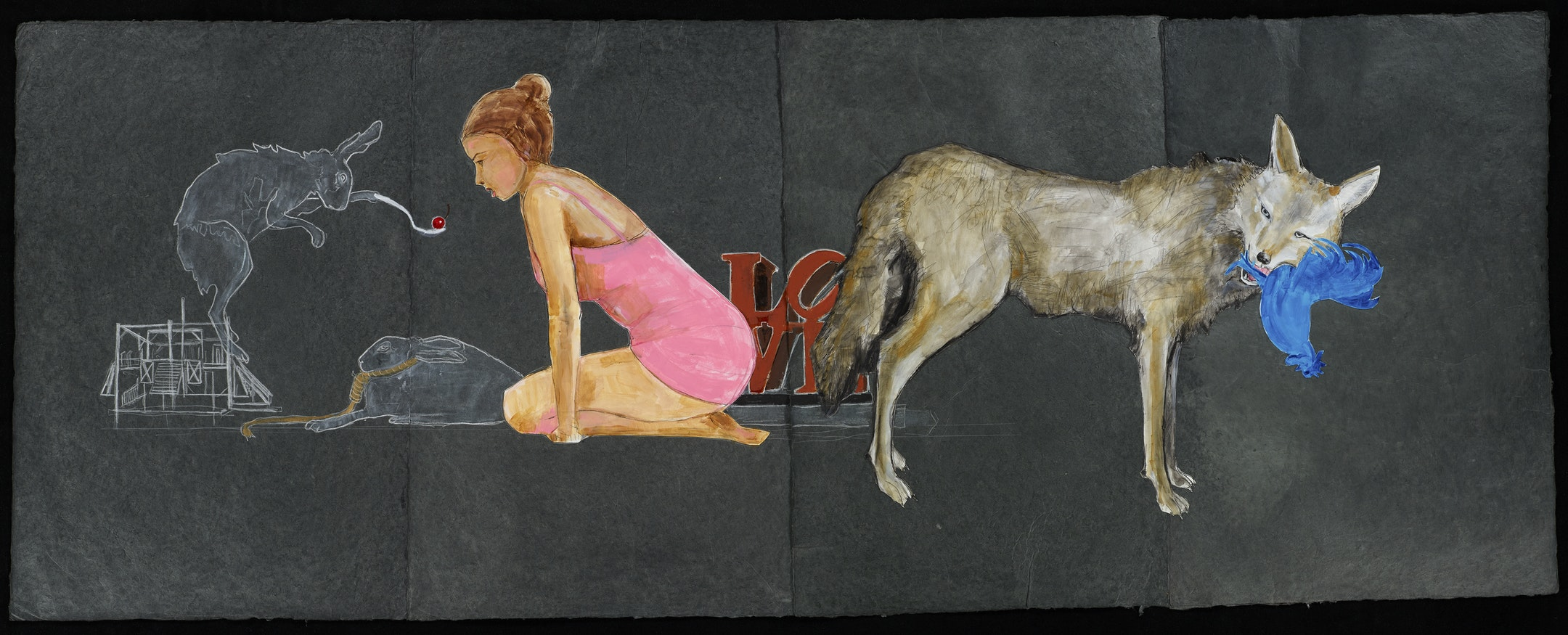 "A gray hare stands on a line drawing of scaffolding, holding out a white spoon with a red cherry to a kneeling young person with tan skin, brown hair, and a pink dress. A hare with a noose around its neck sits between them. Red block letters with the word ""LOVE"" stand in the background, beside a snarling coyote holding a blue rooster in its mouth."