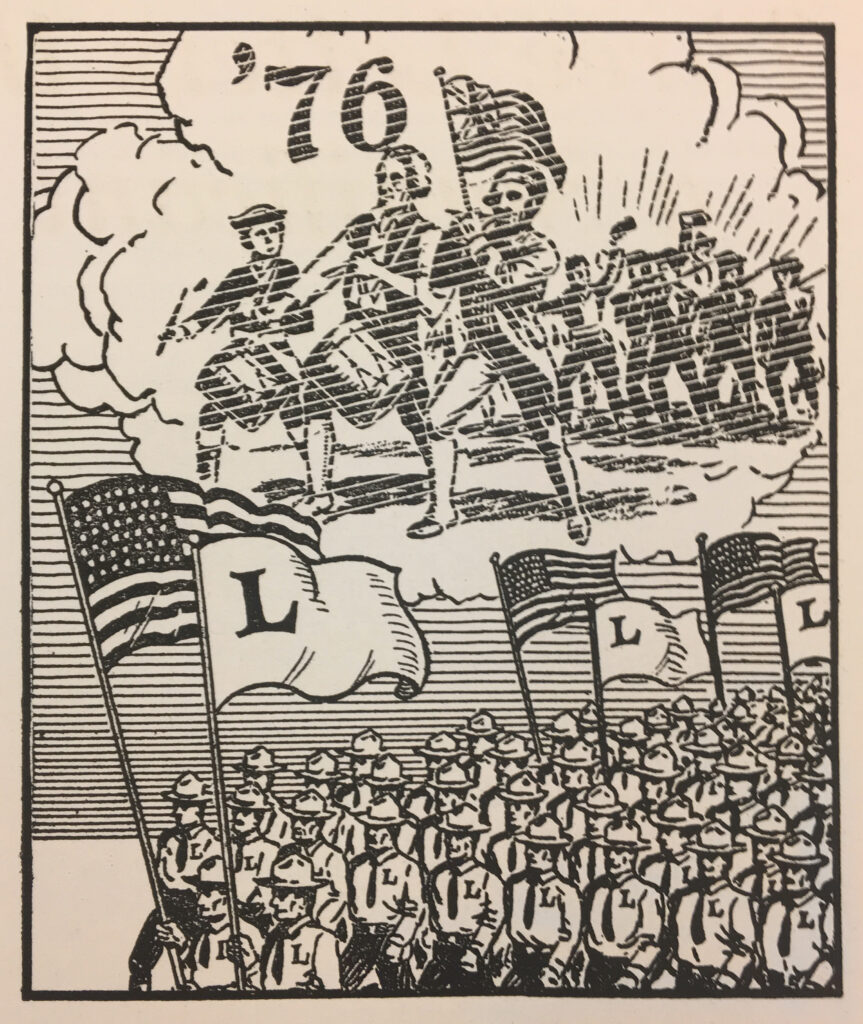 "Cartoon depicting dozens of Silvershirts marching with American flags and Silver Legion flags (simple blank background with Large ""L"" in upper left corner). Above the Silvershirts, a cloud contains marching revolutionaries with '76 hovering above two drummers."