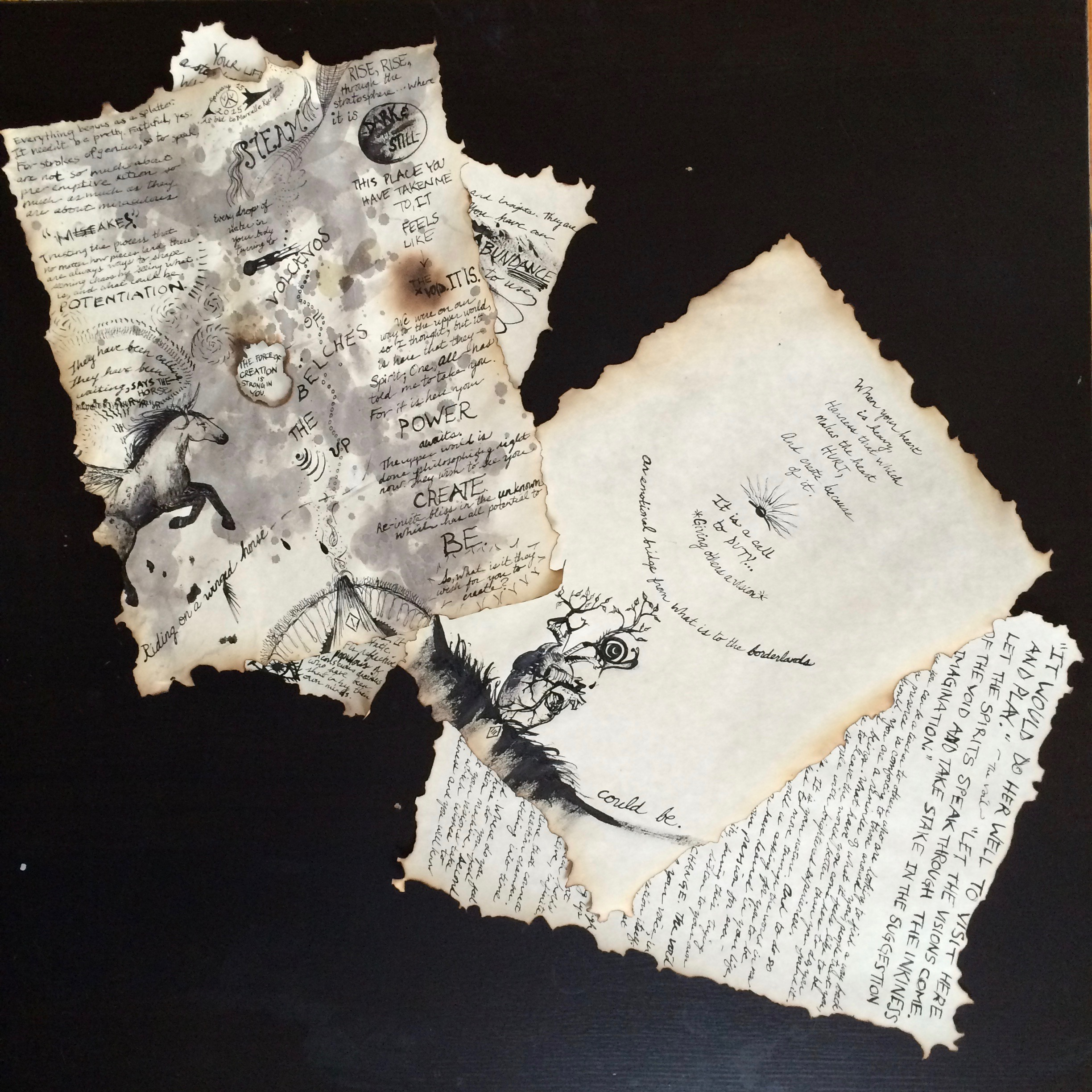 Image description: Four sheets of parchment paper with burned edges, cursive and block writing, including drawings of a horse and an anatomical heart.