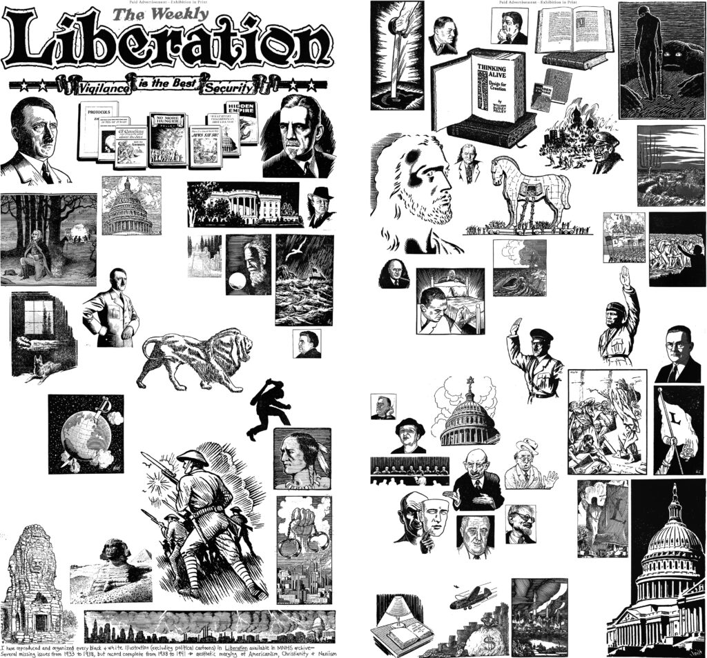 the Liberation heading is reproduced in the top left of the image. The rest of the collage contains black and white symbols and illustrations such as portraits of Hitler and Pelley, depictions of scenes from the Bible, soldiers, a sillhouette bearing a club as a weapon, antisemitic caricatures, a Trojan horse, and various other figures.