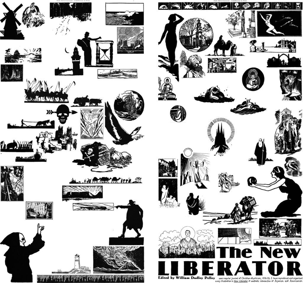 Alt text: the New Liberator heading appears in the bottom right corner of the collage. The rest of the image contains simple black and white illustrations of landscapes, armies, cities, scenes from the Bible, nude women, shepherds, and ships among others.