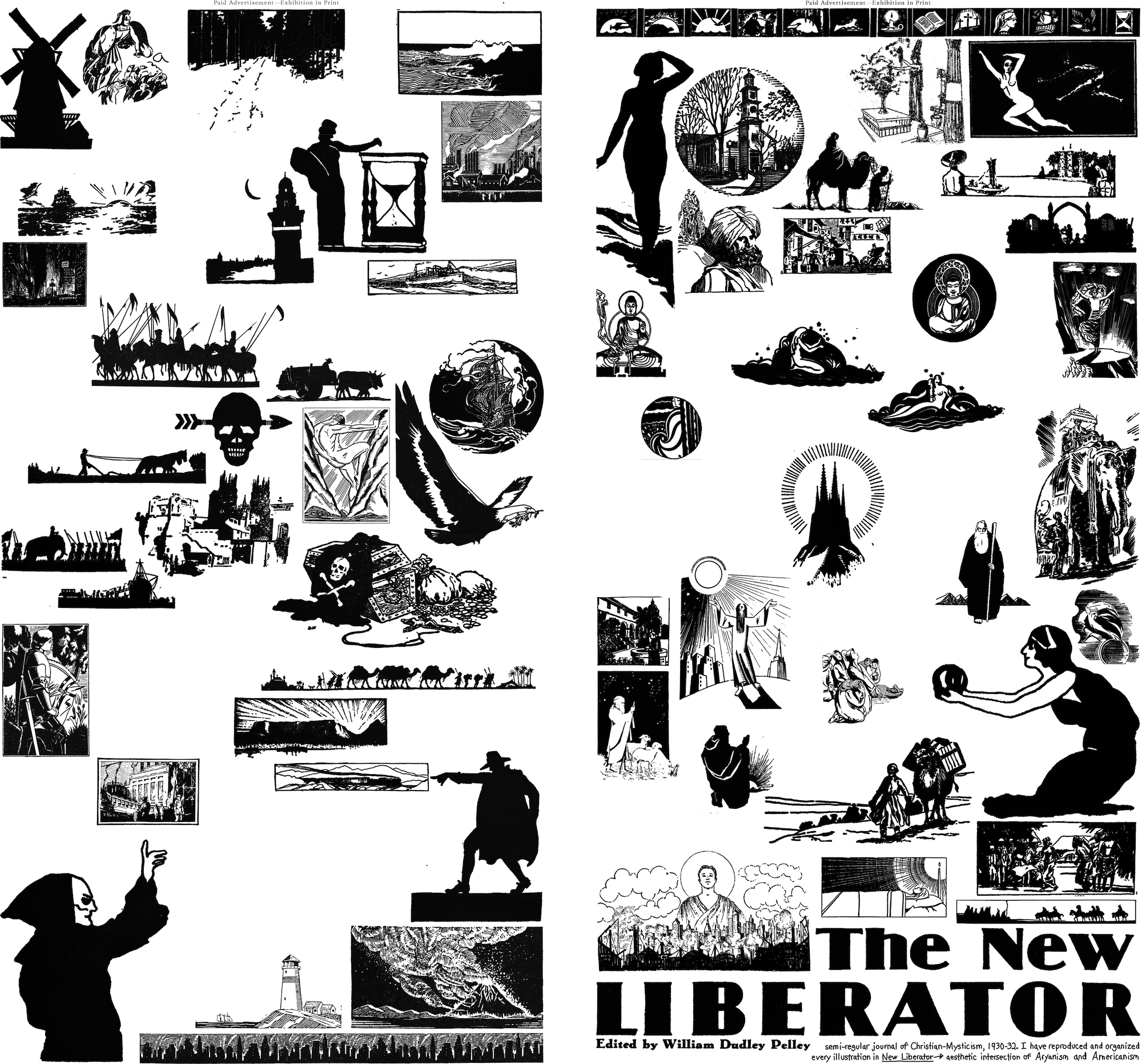 the New Liberator heading appears in the bottom right corner of the collage. The rest of the image contains simple black and white illustrations of landscapes, armies, cities, scenes from the Bible, nude women, shepherds, and ships among others.
