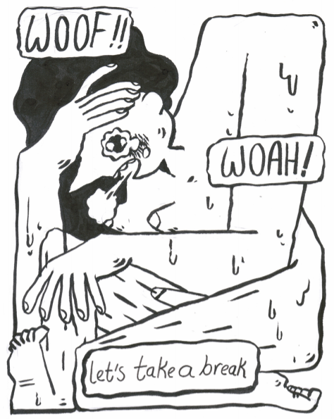 """A figure fills the page - a stylized naked trans woman with square shoulders, dripping sweat. Cartoon bubbles read """"woof/woah/lets take a break"""""""