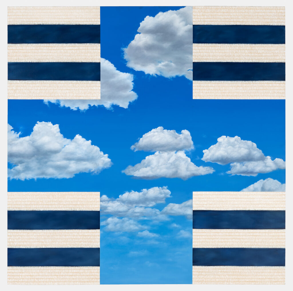 Blue cross with white clouds, navy and beige stripes in four corners.