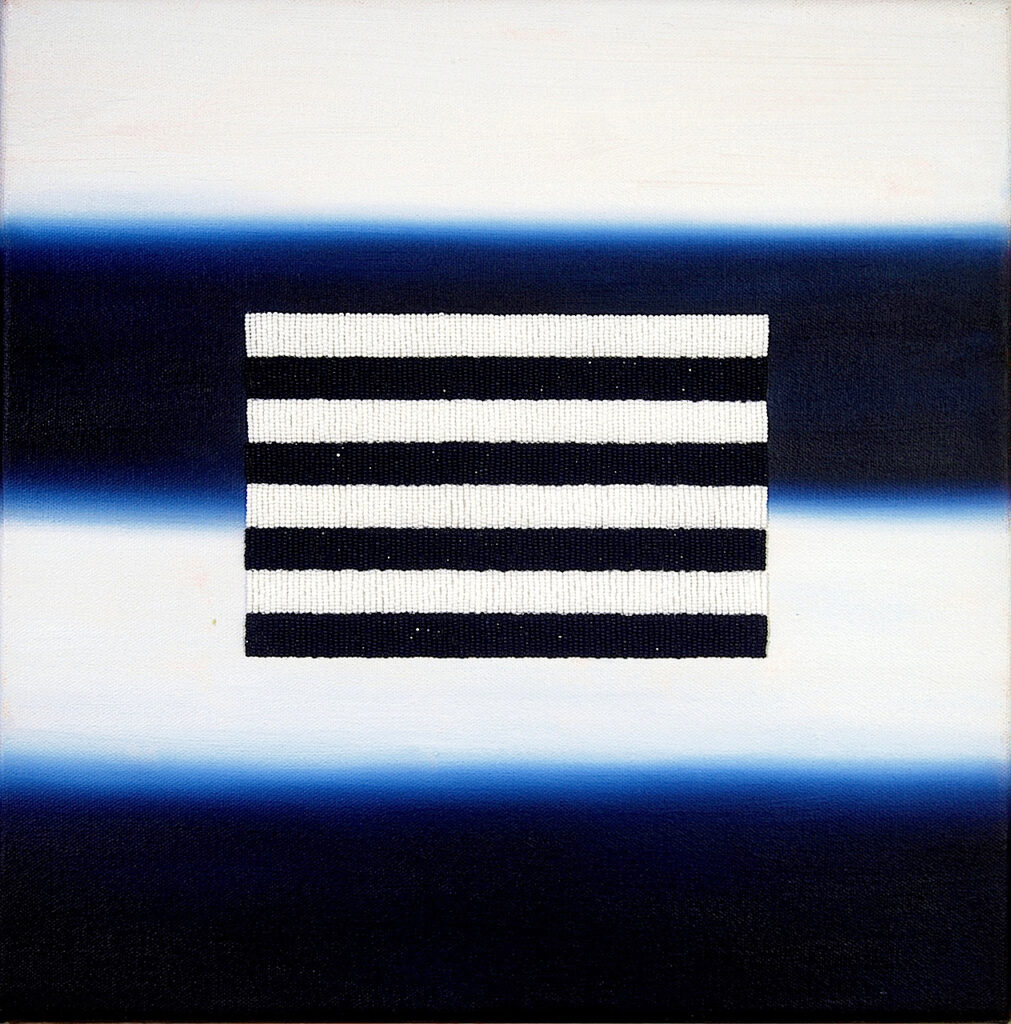 Rectangle of black and white stripes in the center of a field of dark blue and white stripes.