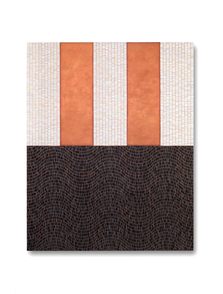 Rectangular painting with white and coral vertical stripes on the top half, and a wavy, dark gray brushstroke pattern on the bottom.