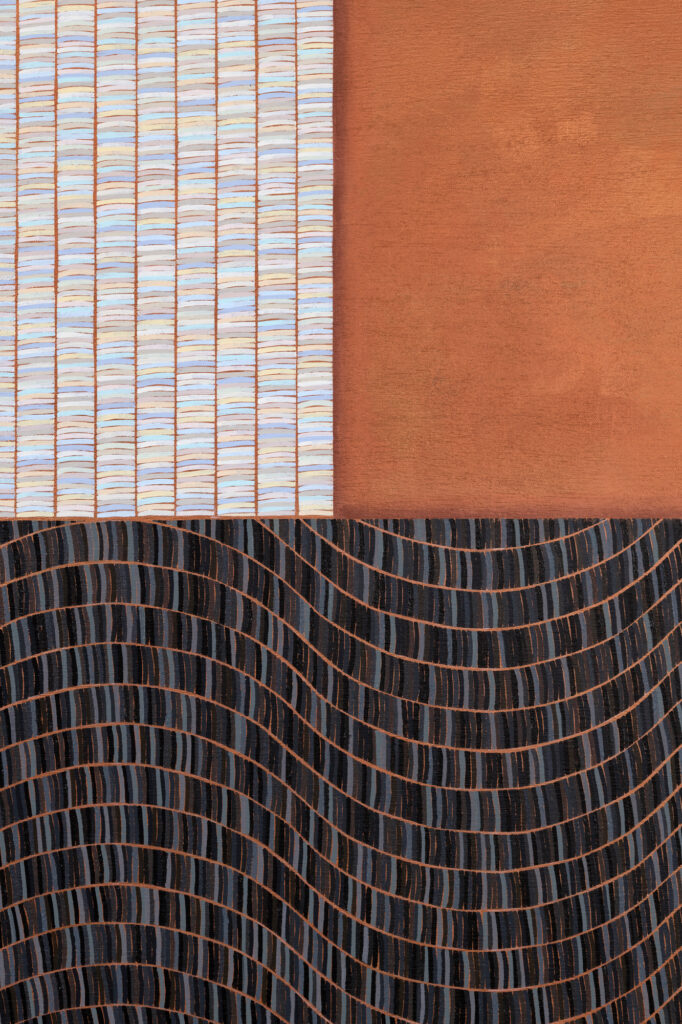 Detail view of light-colored brushstroke pattern, solid rust-colored field, and wavy, dark gray brushstroke pattern.