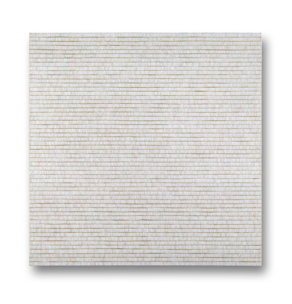 Square painting with rows of white brush strokes over gold background.