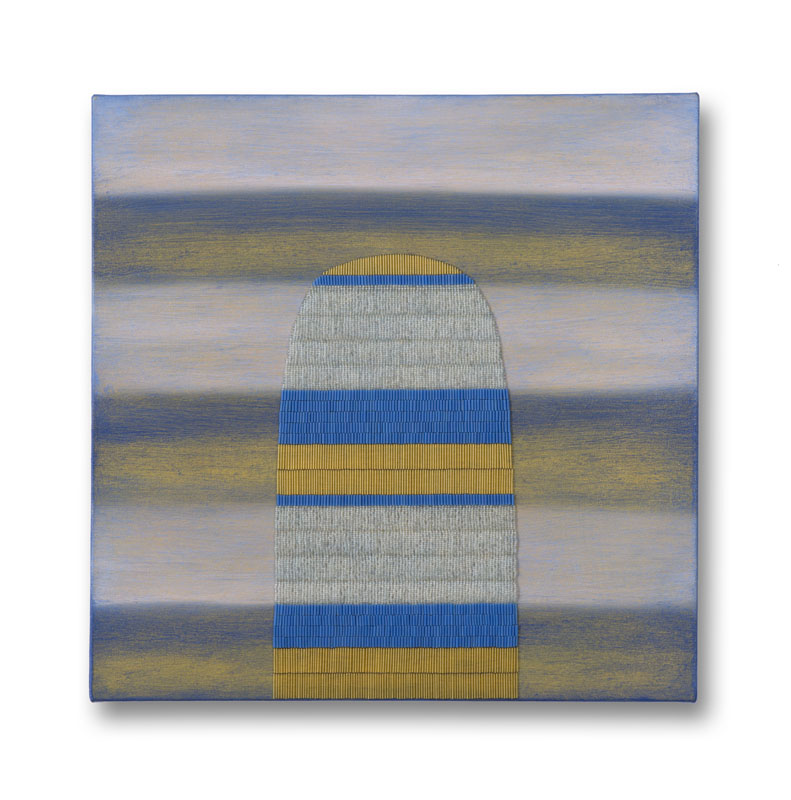 Blue, yellow, and white striped painting with oblong beaded shape.