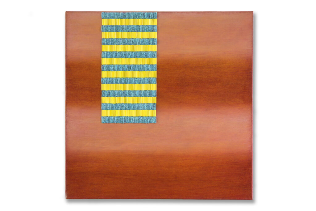 Rectangle with beaded yellow and turquoise stripes, against lighter and darker coral stripes.