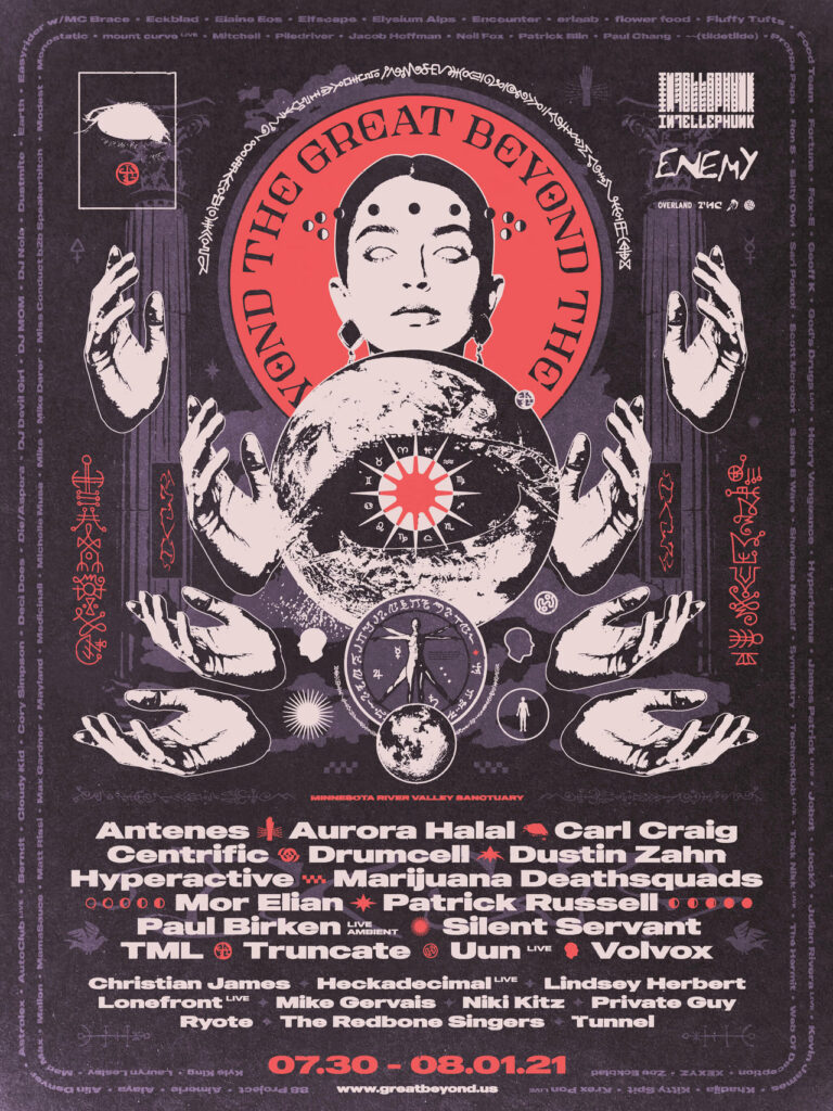 Concert poster with drawing of white head with red halo and four pairs of hands orbiting a planet. Title reads: THE GREAT BEYOND