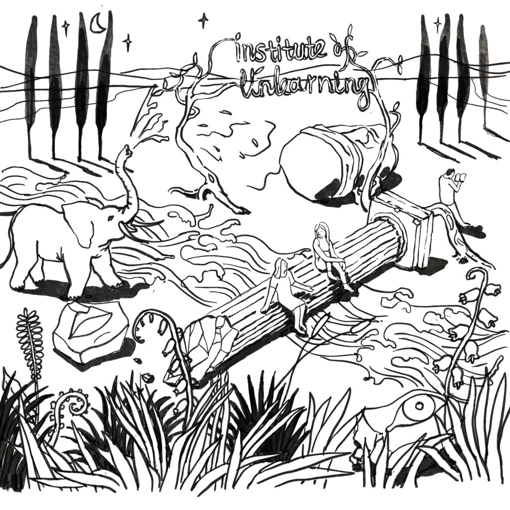 "An elephant trumpets in a natural landscape, with text reading ""Institute of Unlearning"""