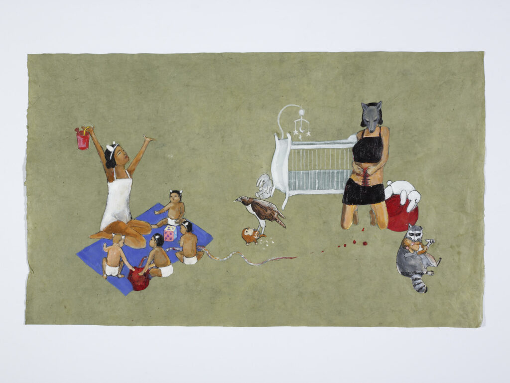 A group of children sit on a blanket with an adult with dark skin and arms raised. A person wearing a wolf mask digs their hands into a wound on their belly, surrounded by a white crib and stuffed and real animals.