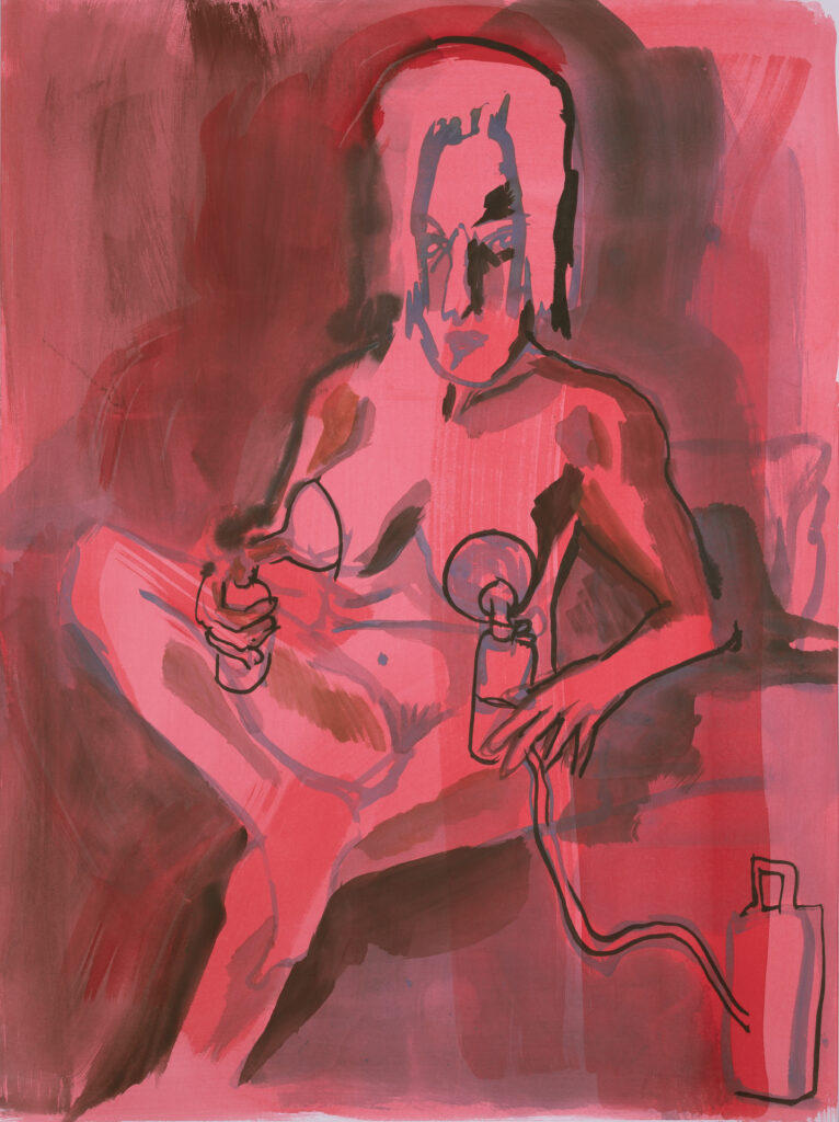 Painting with loose brushstrokes in reds and pinks, with seated, cross-legged figure holding a bump to each breast.