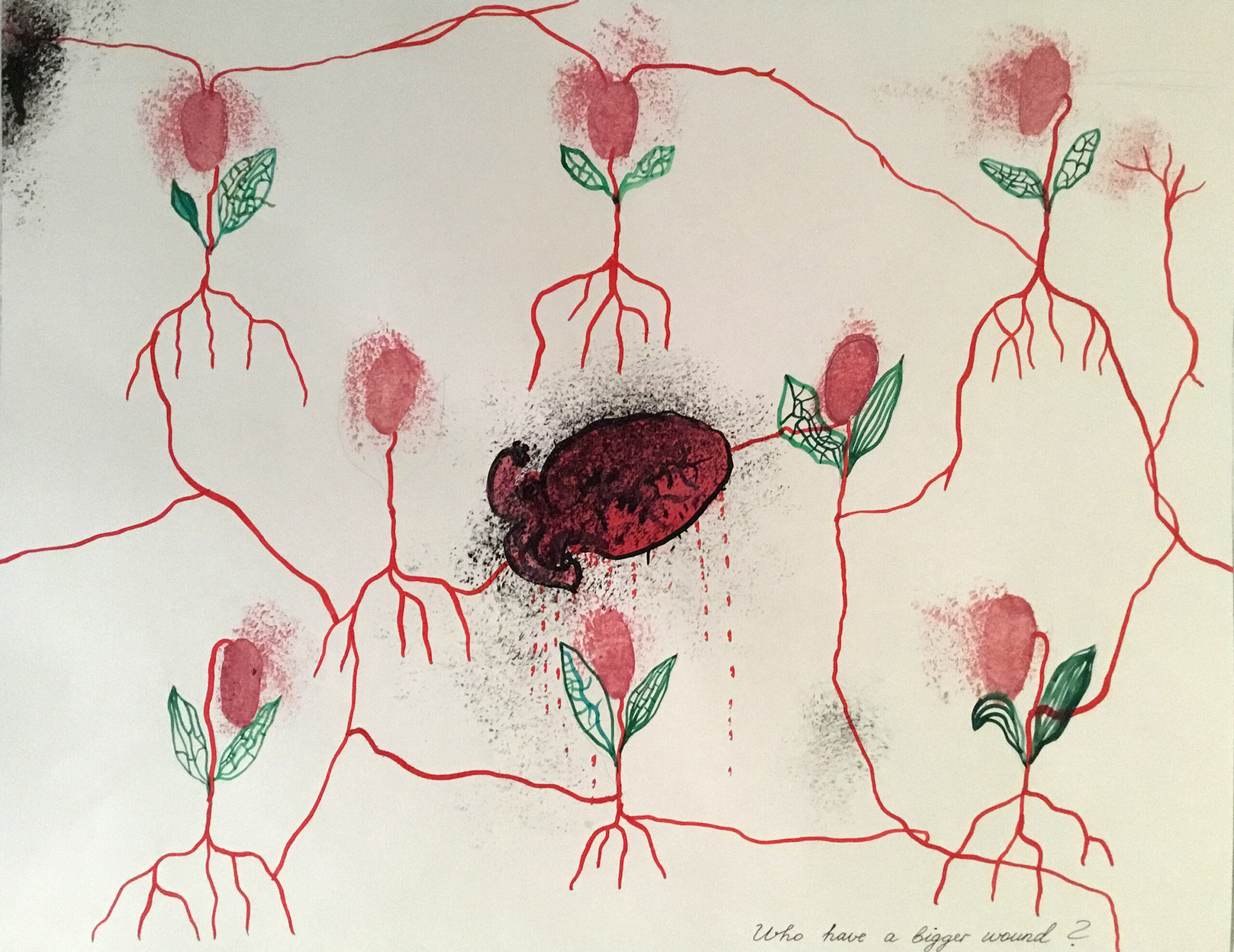 Watercolor of red anatomical heart dripping blood, surrounded by pink flowers with red root system.