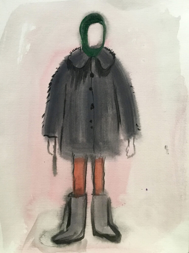 Watercolor figure with gray coat, gray boots, orange tights, green hood, and blank face.