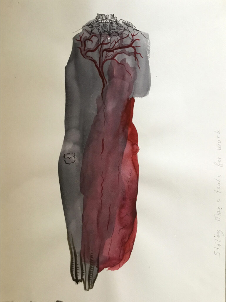 Watercolor of gray torso with dark red pool and vein pattern in chest area.