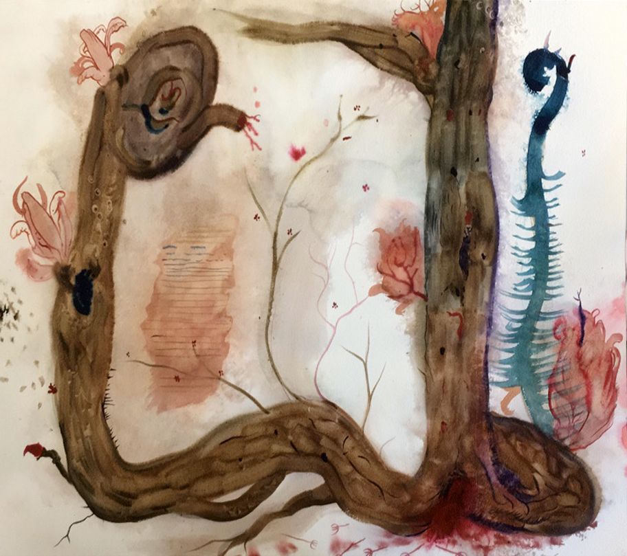 Watercolor of brown tree with root system growing vertically, and pink and blue detail.