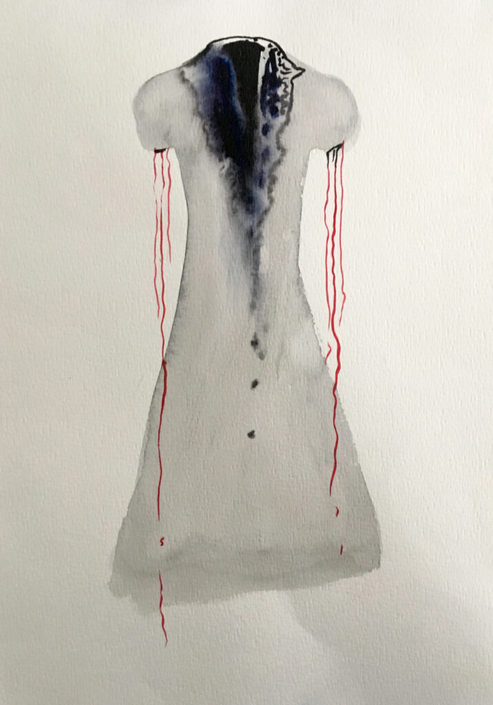 Watercolor of light gray dress with dark area at neck and red dripping from sleeves.