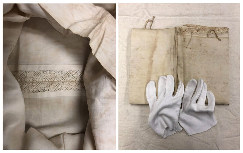Off-white vintage textile with lace detail in center. / White gloves rest on yellowed antique textile with lace edge.