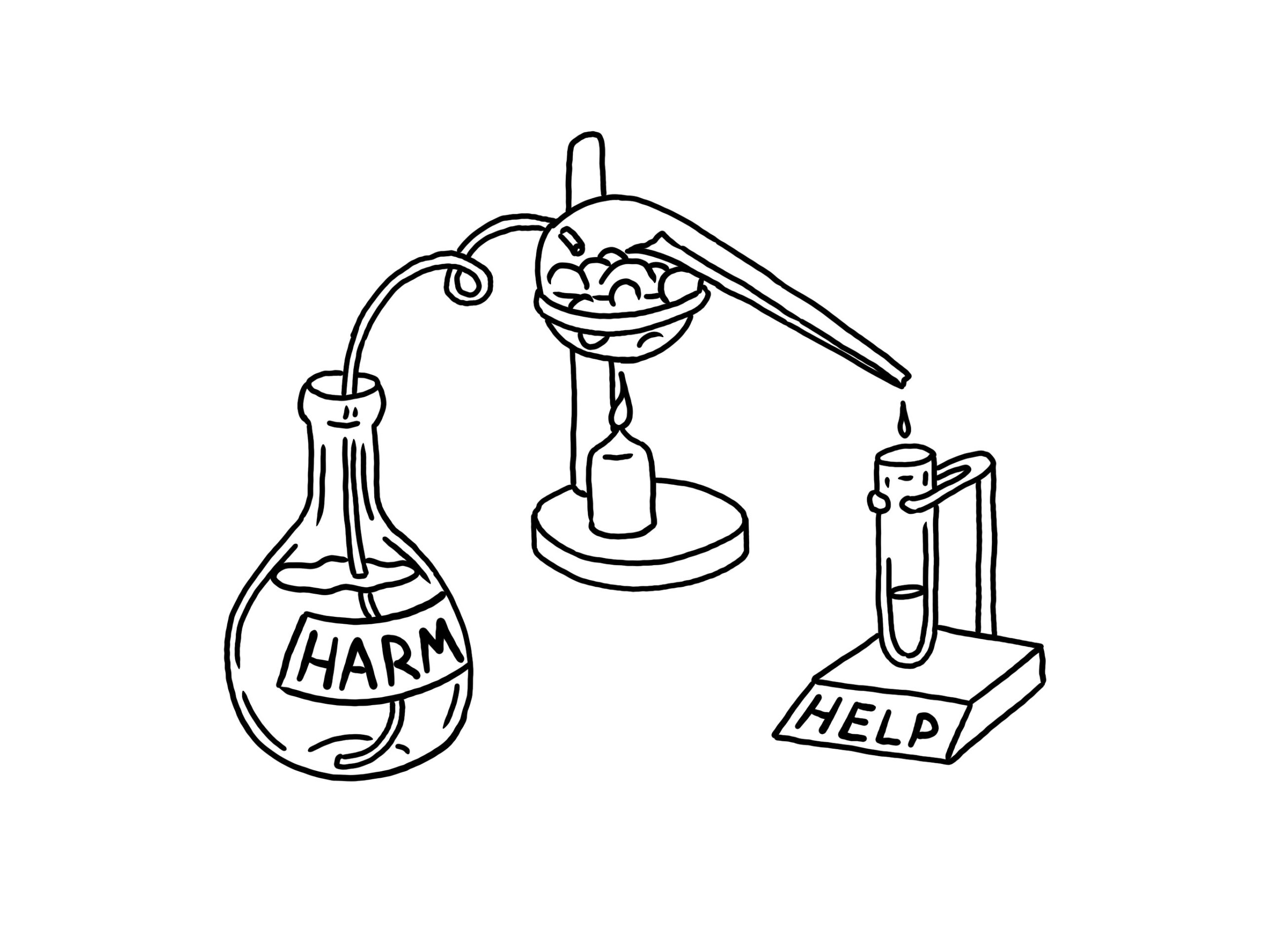 """Line drawing of beaker reading """"HARM"""" funneling into test tube labeled """"HELP."""""""